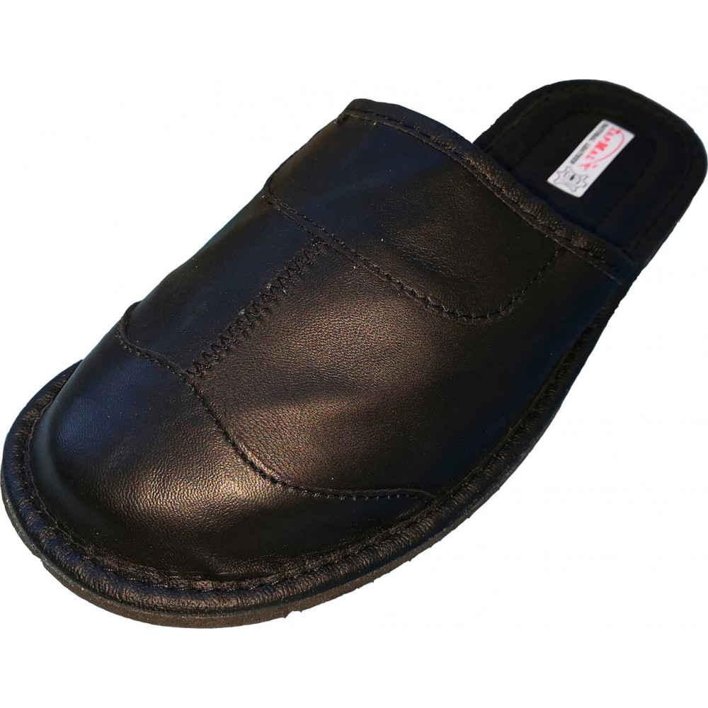 Закрытые кожаные мужские тапочки
