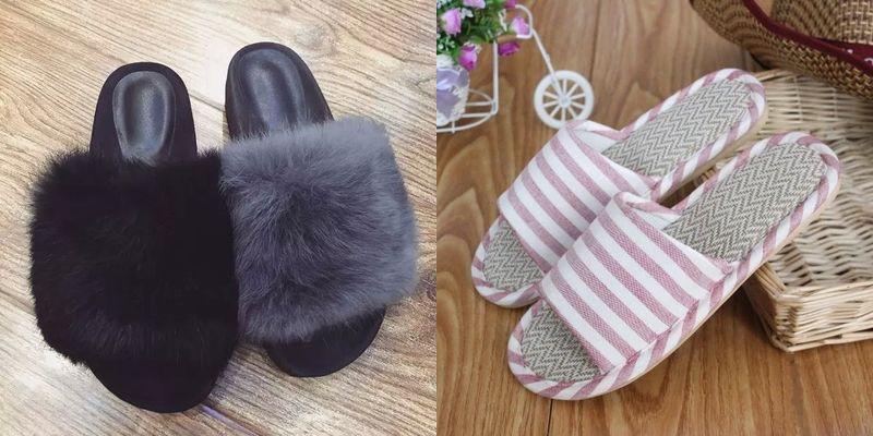 Зимний и летний вариант женских тапочек для дома
