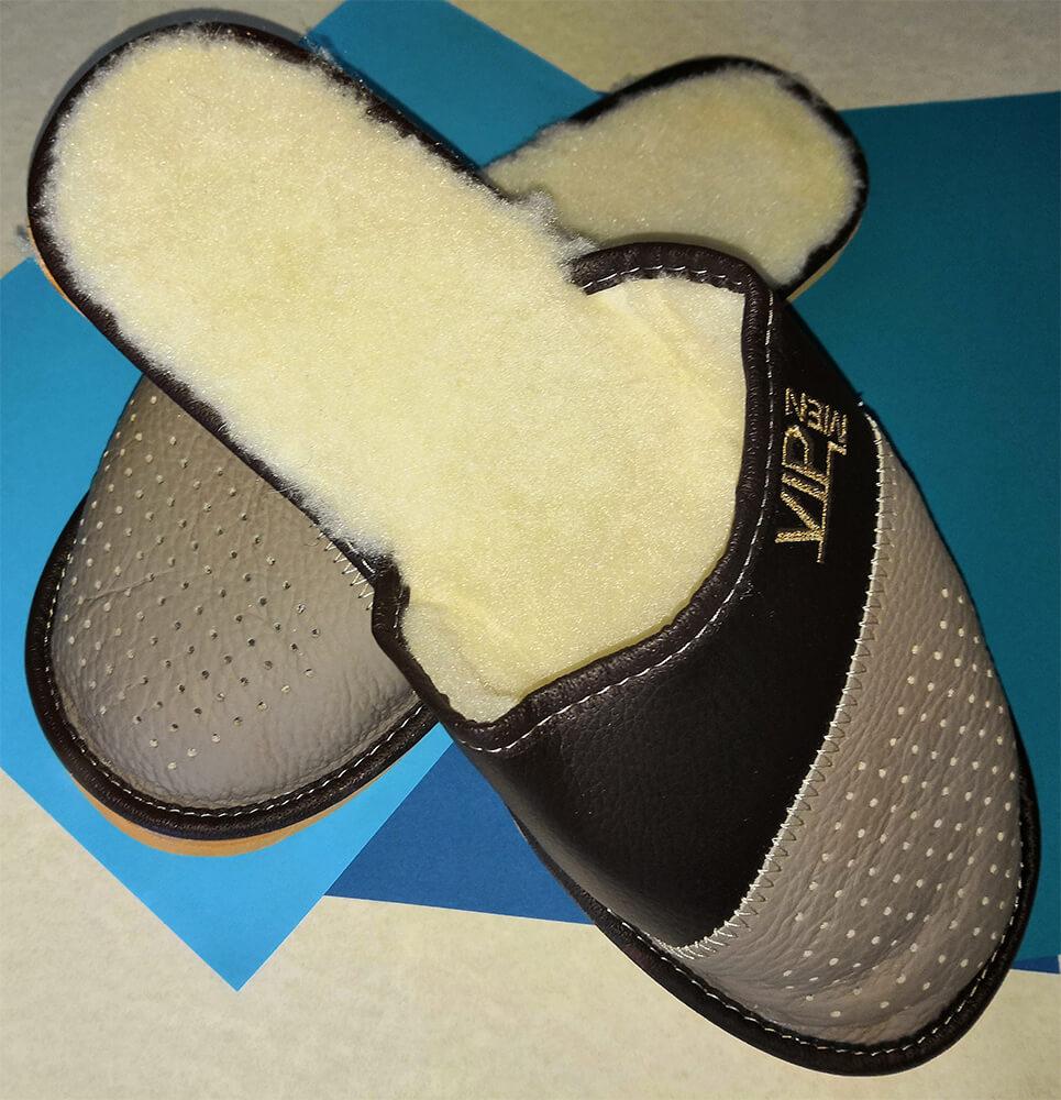 Мужские кожаные теплые тапочки Polmar P153-01 43 размера. Фото 2