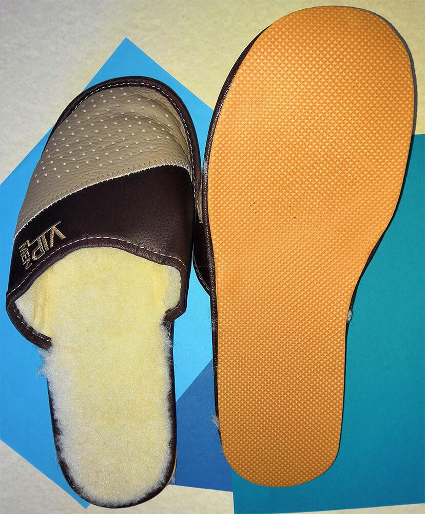 Мужские кожаные теплые тапочки Polmar P153-01 43 размера. Фото 3