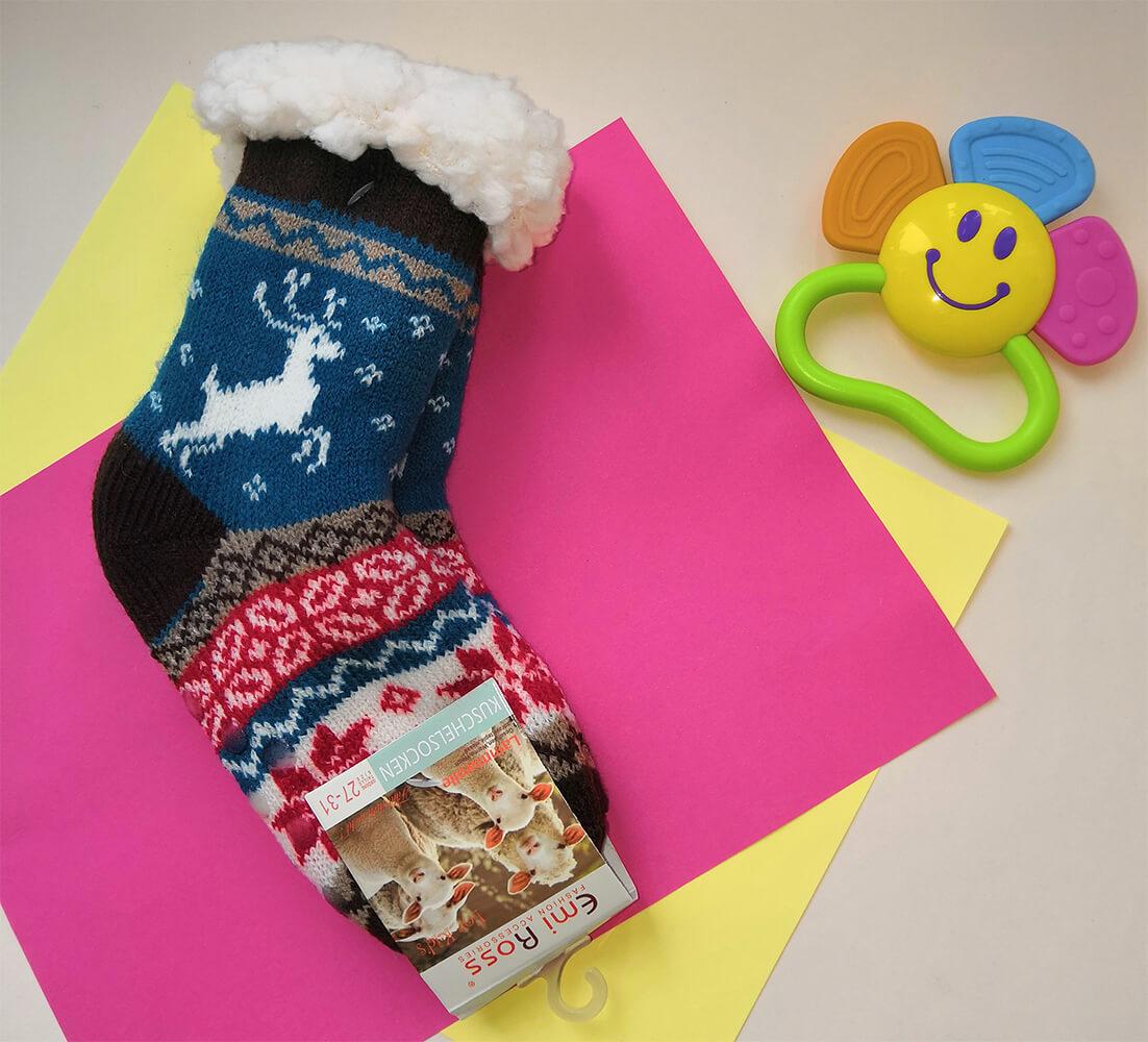 Детские носки-тапочки Emi Ross EJ-6208-br синего цвета. 27-31 размера