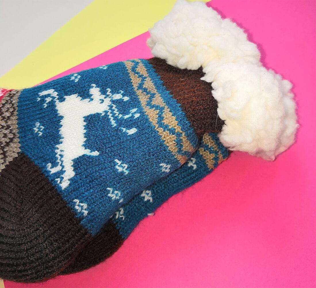 Детские носки-тапочки Emi Ross EJ-6208-br синего цвета. 32-35 размера. Фото 2