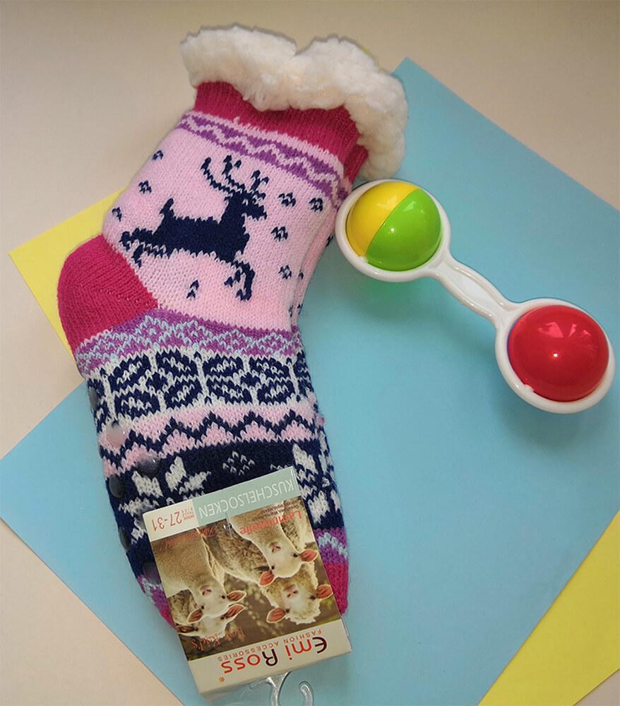 Детские носки-тапочки Emi Ross EJ-6208-p розового цвета. 32-35 размера