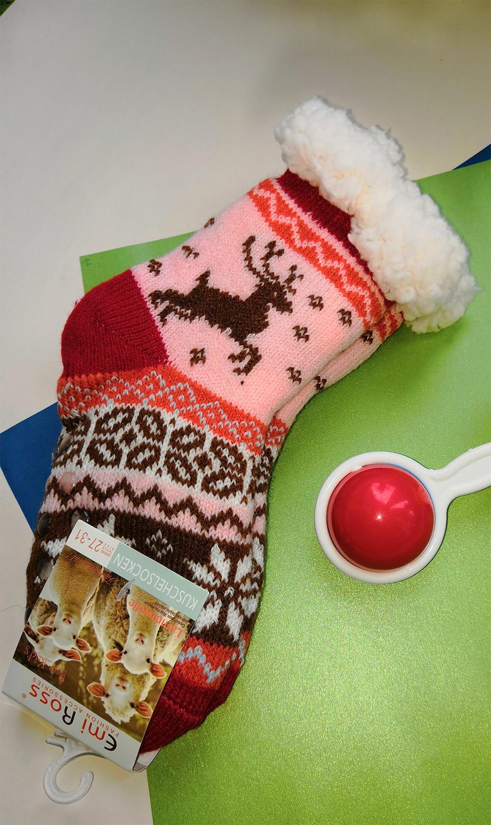 Детские носки-тапочки Emi Ross EJ-6208-r красного цвета. 32-35 размера