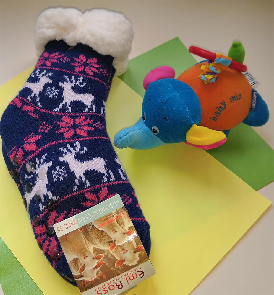 Детские носки-тапочки Emi Ross EJ-6209-b синего цвета.