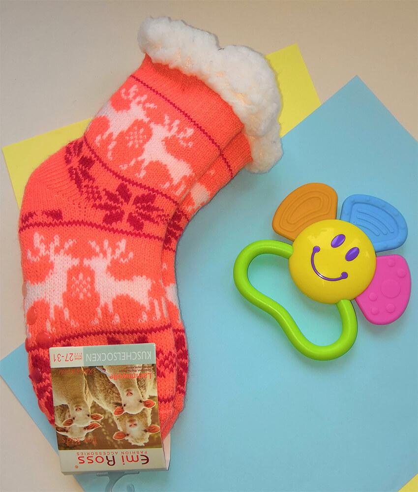 Детские носки-тапочки Emi Ross EJ-6209-c кораллового цвета. 27-31 размера