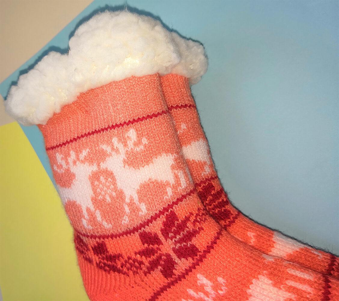 Детские носки-тапочки Emi Ross EJ-6209-c кораллового цвета. 27-31 размера. Фото 2