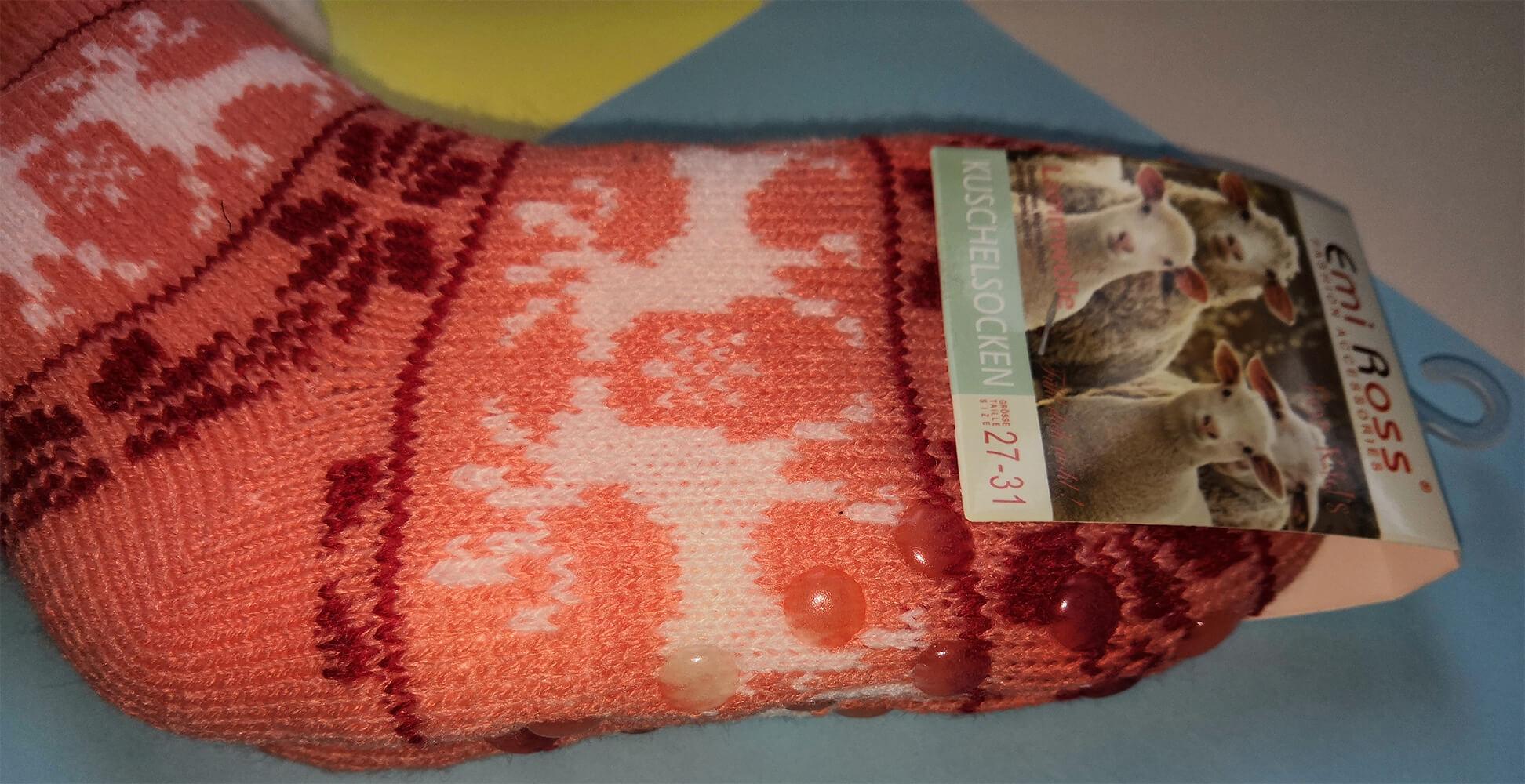 Детские носки-тапочки Emi Ross EJ-6209-c кораллового цвета. 27-31 размера. Фото 3