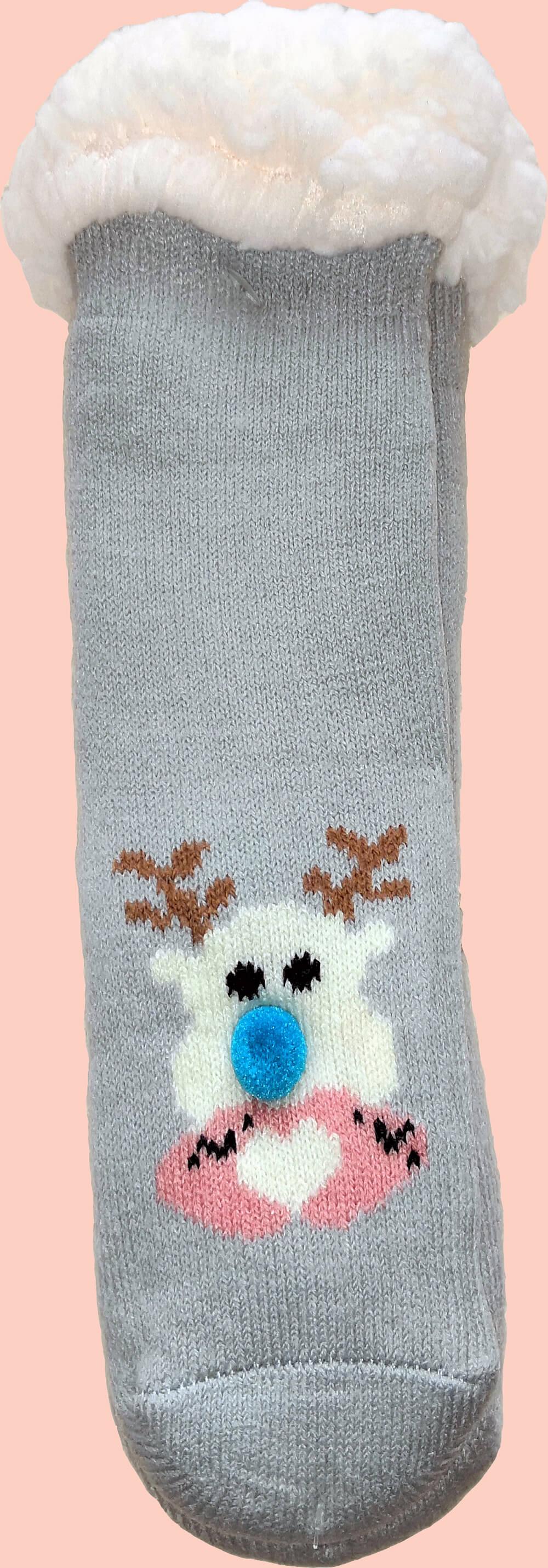 Детские носки-тапочки LookEN SM-HL-7211D-g 26-28 размера серого цвета.