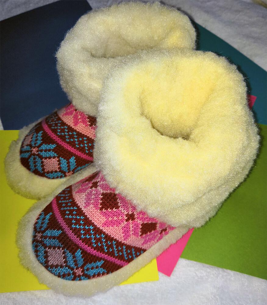 Женские комнатные тапочки-сапожки на овчине Polmar 1008-02 38/39 размера